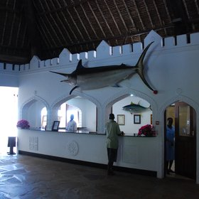 Reception, with its high-makuti roof and giant fish casts, can feel a little dark, but it is cool…