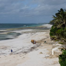 The beach at Swahili Beach is relatively narrow, and more or less disappears at high tide.