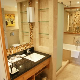 …have more conventional (though no less luxurious) bathrooms…