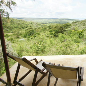 The deck chairs and recliner on the veranda give you a wonderful view across the valley.
