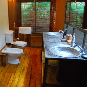The well designed bathrooms have flush toilets as well as bidets, double washbasins ...