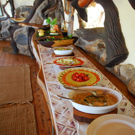 Breakfast and lunch is often served as a buffet, with a variety of fresh and tasty items.