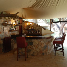 The restaurant, lounge and bar are located in a large open-plan tent.