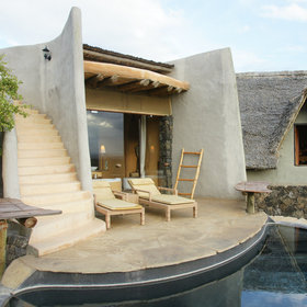 Ol Donyo Lodge has private plunge pools and rooftop sundecks/star bed terraces.
