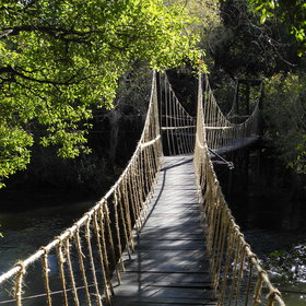 … connected by suspension bridges…