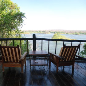 The rooms have lovely views over the Zambezi from the veranda.