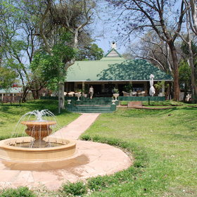 The farmhouse dates back to the 1940s and serves as the lodge's main area today.