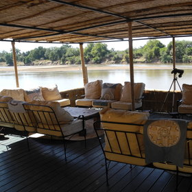 ... a lounge deck suspended over the river with great views...