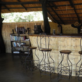 ... and a small library, next to the well-stocked bar.