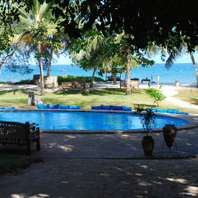 Kinondo Kwetu has two pools - a smaller plunge pool, which is very quiet…