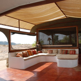 …and the lounge under the sun canopy.