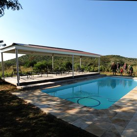 …and a big pool with a gazebo and some sun loungers at its side.