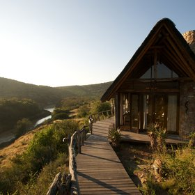 ...beautifully set on steep hills overlooking the Great Fish River in Kwandwe Game Reserve.