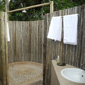 ...as well as an outdoor shower and toilet.