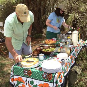 The camp offers particularly good food, either out in the bush, like this brunch…