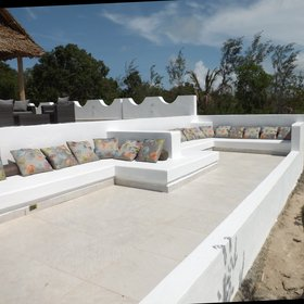 Between the beach and the pool is a sunken lounge which is a great place to watch the sunset from.