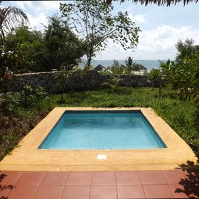 Every room has a private plunge pool which has a view of either the sea or the garden.