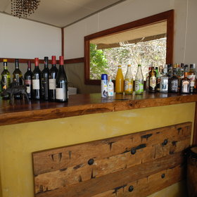 ...has a well stocked bar...