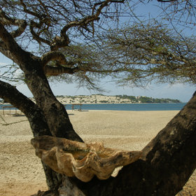 Facing the dunes on Lamu island across the channel…