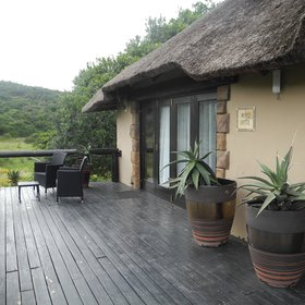 Some chalets have views of the bush and game areas, while others overlook the river.