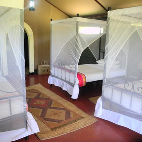 The 10 tented rooms are spacious and airy...