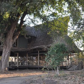 The main areas at Katavi Wildlife are open-sided with a thatched roof and wooden floor.