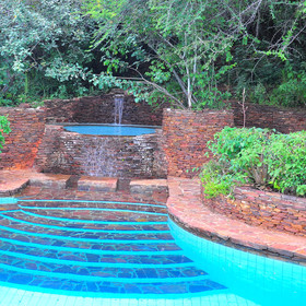 Below the lounge and down a number of stairs, is Kirawira Camps pool