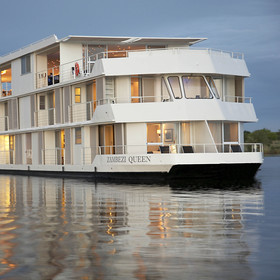 The Zambezi Queen is a luxurious 45m long, triple deck river cruiser based out of Kasane