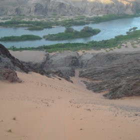 The Kunene River, Namibia's border with Angola, flows all year.