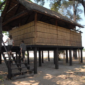 ... which often stand beside the Luangwa River - this one is built on stilts, in case of flood.