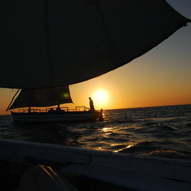 Enjoy a drink whilst watching the sunset, during a romantic dhow cruise.