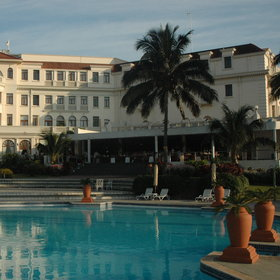 The magnificent five-star Polana Serena Hotel offers luxurious rooms and a large pool.
