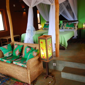 The rooms of the eco-lodge here are rustic but good quality.
