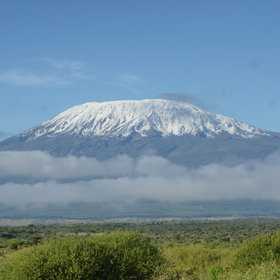 "Towering over the park, ""Kili"" can be spectacular when it shows itself after fresh snow."