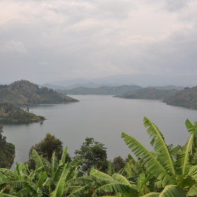 Lake Kivu extends along much of the western length of Rwanda...
