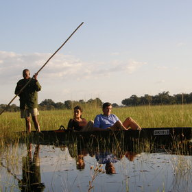 Gliding around in a mokoro – this must be Botswana.