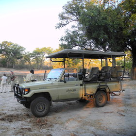 Game drives are carried out in open-sided 4WD vehicles...