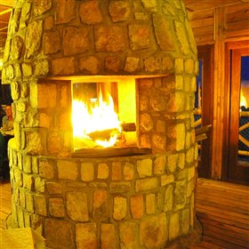 A roaring fire is lit here each evening!