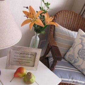 Fresh flowers in each room add a personal touch.