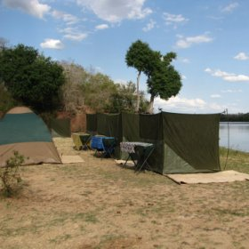 With a simple mosquito nett box-tent for you to sleep in and a separate dome tent for changing.