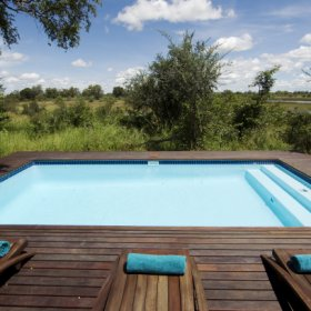The small plunge pool is a short way away from the main area and offers a few sunloungers.
