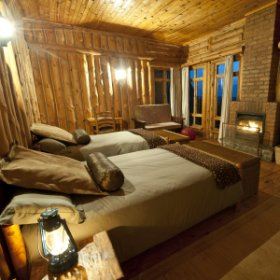 The lodge is built entirely out of timber and stone ...