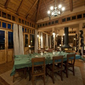 The lodge has a dining room with a large outdoor deck for warmer days ...