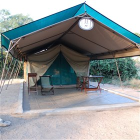 The tents at Mdonya Old River Camp are set wide apart under shady acacias.