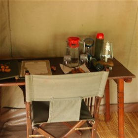 All the tents at Mdonya are furnished simply, in traditional safari style.