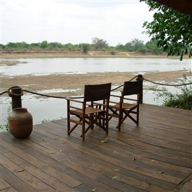 The water levels of the Luangwa River vary enormously. See the dry season here...