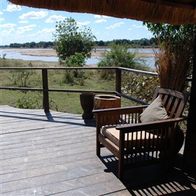 The camp is built overlooking the confluence of the Luangwa and Luwi Rivers.