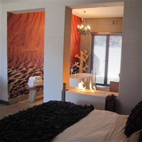 Each suite is themed around a region of Namibia: this one around the Namib...
