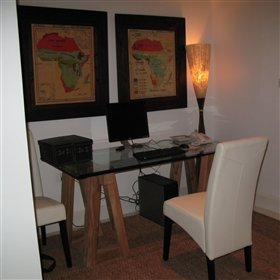 The cosy study has internet connection and a computer for guests to use
