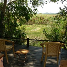 A private veranda is the perfect place to enjoy a river view and the plentifull birdlife